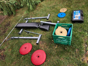 REALLY. Good condition bench press with weights and dumbell kit
