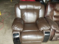 Brown leather recliner with storage for sale