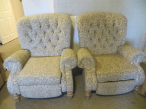 Two Large Comfortable Reclining Chairs For Sale