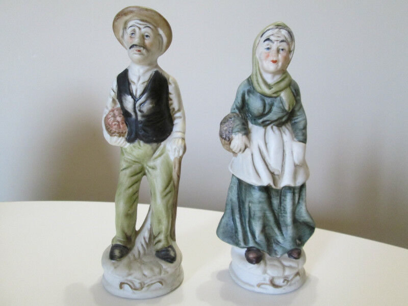 Hand Crafted And Painted Ceramic Grandma And Grandpa Arts