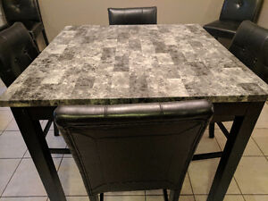 Pub Height Dining Table with 4 Chairs