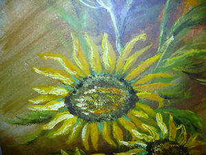 "Garden Study by O. J. Coghlin ""Sunflowers"" Original Oil Painting Stratford Kitchener Area image 6"