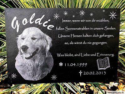 Grabstein Schiefer Tiergrabstein Gedenkstein Grabplatte Gravur Hund 40 x 30 cm
