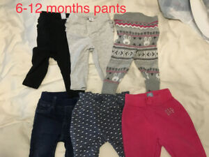 6-12 month girls pants lot