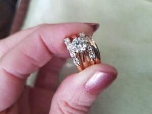 Solitaire Engage Ring with Diamond Bands (2) & Gold Band
