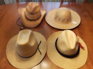 Cowboy hats, fedora, sunhat. All straw.