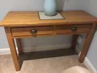 Solid oak hall console table with two drawers