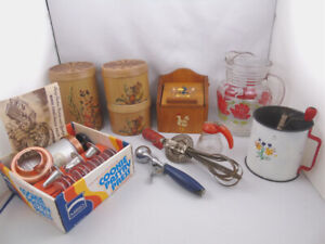 Vintage Collection of Kitchen Items Syrup Bottle Ice Cream Scoop