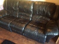 Black leather 3 seater and single recliner sofas