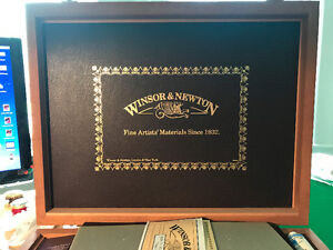 Winsor & Newton Mahogany oil painting box with paints etc.