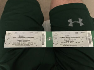 CFL Roughriders vs Stampeders AUGUST 19 2018 pair of tickets