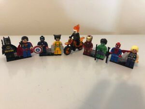 NEW!! All 9 SUPER HERO LEGO MEN - Superman, Spiderman, Batman