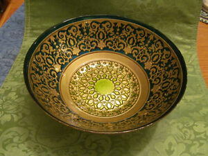Gold and Green art glass 8 inch bowl