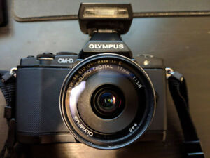 Olympus E-M5 DSLR camera with M.Zuiko 17mm f1.8 lens and more