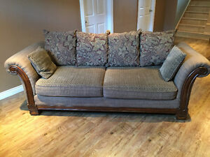 Sofa, chair with ottoman, coffee table, side chair