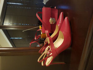 Nine west shoes and purse. Red.