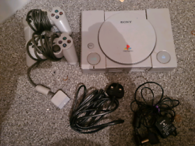 PS1 CONSOLE AND GAMES BUNDLE.