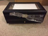 Large black faux fur jewellery box still in box