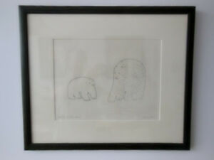 Art4u2enjoy 1964 Sharni Original Inuit Stone Cut Etching (Mtl)