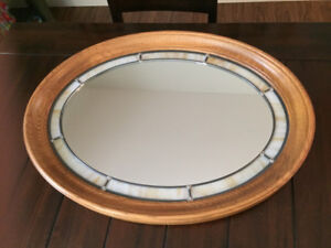 Oak and Stained Glass Mirror