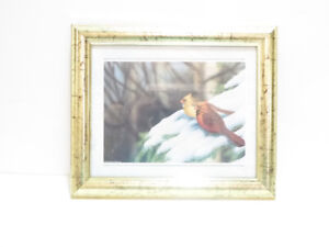 """""""CARDINAL WINTER SCENE"""" FRAMED WALL PICTURE - EXCEL. COND."""