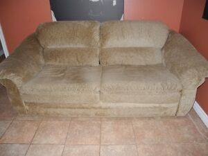 Plush, Beige Sofa Bed - double bed mattress