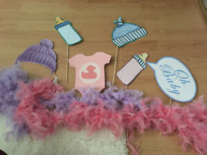 Baby shower photo booth props and decorations