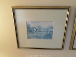 3 x great signed prints in frame with glass.
