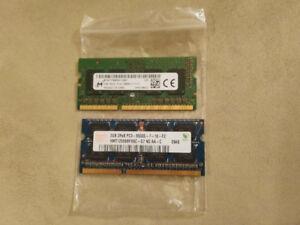 Two 2GB DDR3 Laptop Memory RAM