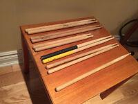 5 Pairs of Used Drum Sticks plus one