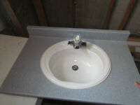Sink, faucet, and countertop