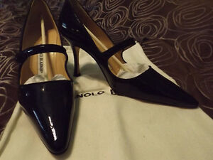 MANOLO BLAHNIK MARY JANES, BLACK PATENT LEATHER