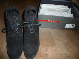 PRADA Stacked Heal  Ankle Booties