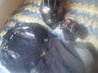 Motorbike Suit Armoured 100% WATERPROOF + GLOVES + HELMET + HEADPHONES .