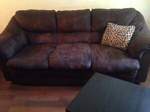 Brown Microsuede Couch+Loveseat