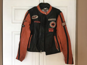 For sale ladies size M leather Harley Davidson riding jacket.