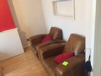 2x Single Real Leather Sofa
