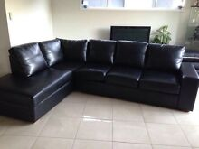 Black bonded leather 5 seater corner lounge Claremont Meadows Penrith Area Preview