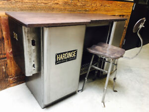 Vintage Industrial Counter and Stool