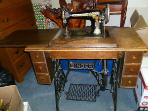 Antique Treadle Sewing Machine in Cabinet