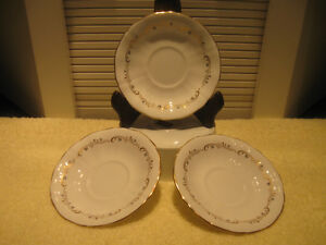 3 MATCHING NORTHUMBRIA BONE CHINA SAUCERS ONLY