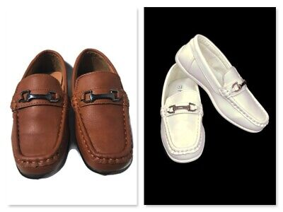Boy Dress Shoes (Fouger Boys Kids White/Brown Formal Dress Shoes Loafers w/ Buckle, New (S)