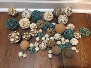 Assorted decorative balls, white, beige, and teal