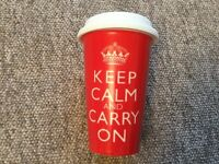 Keep calm and carry on double walled travel ceramic mug