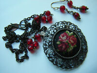 Miniature Needle Work Roses, Petite Point Brooch, with earrings