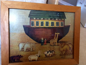 Rustic wood framed Noah's ark print