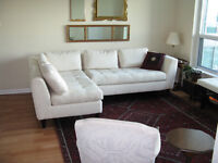 Sectional sofa (L&R use), condo-size; ivory, excellent shape (