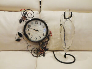 One Metal Decorative Wall Clock & Hanging Glass Vase & Stand