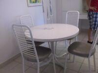 5 pc.kitchen set, end table,lamp, antique table