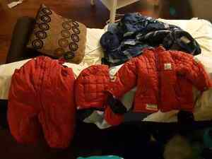 Red snow suit.
